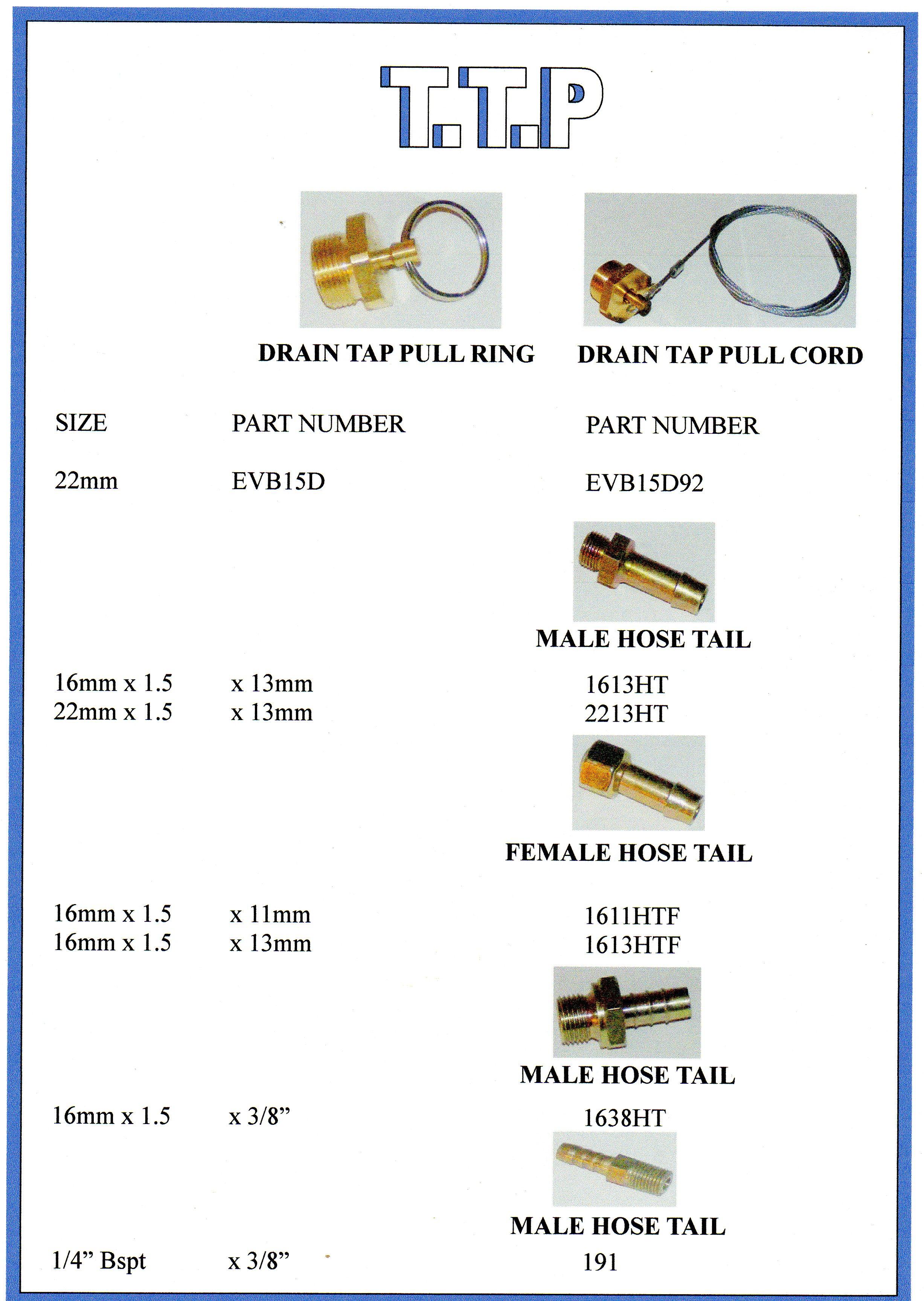 Truck & Trailer Drain Tap Pull Ring & Cord
